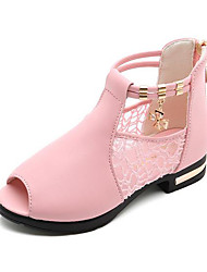 abordables -Fille Chaussures Polyuréthane Eté boîtes de Combat Bottes pour Noir / Rouge / Rose