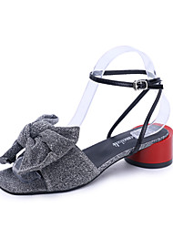 economico -Per donna Scarpe PU (Poliuretano) Estate Con cinghia / Cinturino alla caviglia Sandali Footing Basso Occhio di pernice Fiocco Oro / Nero