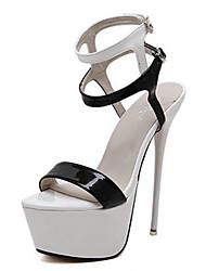 baratos -Mulheres Sapatos Couro Ecológico Primavera Verão Tira no Tornozelo / Chanel Sandálias Plataforma Dedo Aberto Presilha para Casamento /