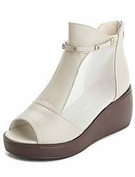 preiswerte -Damen Schuhe Leder Frühling Pumps Sandalen Keilabsatz für Normal Weiß Schwarz Gelb