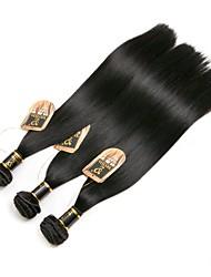 Недорогие -3 Связки Бразильские волосы Прямой человеческие волосы Remy Необработанные натуральные волосы Накладки из натуральных волос Черный Естественный цвет Ткет человеческих волос / 10A