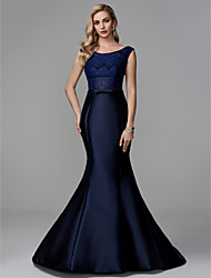 cheap -Mermaid / Trumpet Bateau Court Train Lace / Satin Formal Evening Dress with Lace by TS Couture®