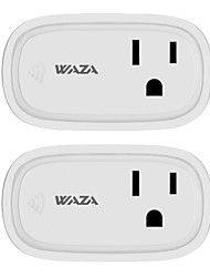 abordables -waza smart plug wifi habilitado mini interruptor inteligente compatible con amazon alexa y google assistant, no se requiere hub (paquete de 2)