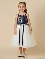 cheap -A-Line Knee Length Flower Girl Dress - Lace / Tulle Sleeveless Spaghetti Strap with Sash / Ribbon by LAN TING BRIDE®