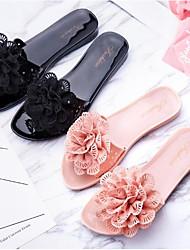 cheap -Women's Shoes PVC Leather Summer Comfort Slippers & Flip-Flops Flat Heel Black / Pink