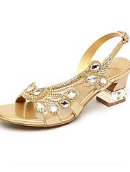 baratos -Mulheres Sapatos Couro Ecológico Primavera / Verão Gladiador Sandálias Salto Alto de Cristal Peep Toe Pedrarias / Cristais / Gliter com