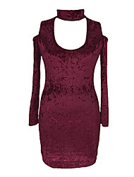 cheap -Women's Street chic Bodycon Dress - Solid Colored Cut Out