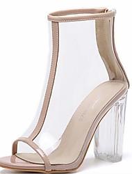 Недорогие -Жен. Обувь Полиуретан Лето Модная обувь Ботинки На толстом каблуке Открытый мыс Ботинки для на открытом воздухе Черный / Миндальный
