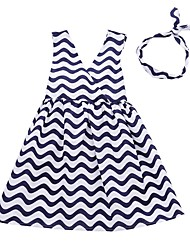cheap -Kids Girls' Black & White Striped Sleeveless Dress
