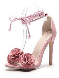 preiswerte -Damen Schuhe Nubukleder Sommer Pumps Sandalen Stöckelabsatz Offene Spitze Spitze für Büro & Karriere / Party & Festivität Orange / Gelb /