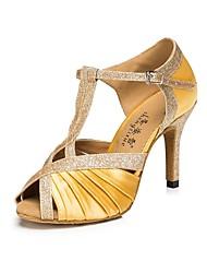 Недорогие -Жен. Обувь для латины Сатин На каблуках Тонкий высокий каблук Персонализируемая Танцевальная обувь Золотой / Выступление / Кожа