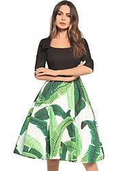 cheap -TS - Dreamy Land Women's Slim Skater Dress - Floral Square Neck