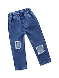 baratos -Bébé Para Meninas Sólido Sem Manga Jeans