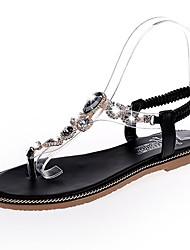baratos -Mulheres Sapatos Couro Ecológico Verão Conforto Sandálias Sem Salto Ponta Redonda Pedrarias para Ao ar livre Preto / Verde Escuro