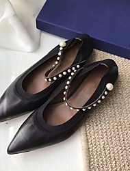 Недорогие -Жен. Кожа Весна лето Удобная обувь На плокой подошве На плоской подошве Заостренный носок Черный / Синий