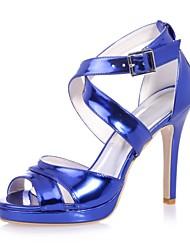 abordables -Mujer Cuero Patentado Primavera verano Minimalismo Sandalias Tacón Stiletto Puntera abierta Hebilla Dorado / Plata / Azul / Boda / Fiesta y Noche