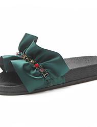 baratos -Mulheres Sapatos spandex Verão Gladiador Chinelos e flip-flops Sem Salto para Festas & Noite Preto / Verde