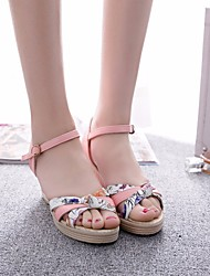 cheap -Women's Shoes PU(Polyurethane) Summer Comfort Sandals Wedge Heel White / Pink / Light Blue / Wedge Heels