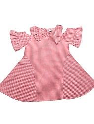 Недорогие -Дети (1-4 лет) Девочки Черное и белое Шахматка С короткими рукавами Платье