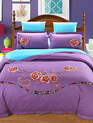 cheap -Duvet Cover Sets Floral Poly / Cotton Embroidery 4 Piece / 4pcs (1 Duvet Cover, 1 Flat Sheet, 2 Shams)