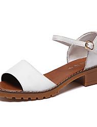 baratos -Mulheres Sapatos Tecido Verão Conforto Sandálias Sem Salto Peep Toe para Escritório e Carreira / Ao ar livre Preto / Cinzento / Verde
