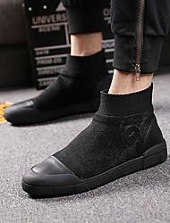 preiswerte -Herrn Fashion Boots Leder Herbst Stiefel Schwarz