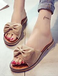 cheap -Women's Shoes Nubuck leather Summer Comfort Slippers & Flip-Flops Flat Heel for Casual Gray Green Almond