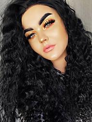 Недорогие -Синтетические кружевные передние парики Жен. Волнистый Черный Стрижка каскад 150% Человека Плотность волос Искусственные волосы Жаропрочная / Женский / Мода Черный Парик Длинные Лента спереди Черный