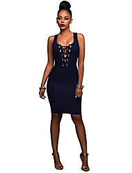 cheap -Women's Going out Bodycon Denim Dress - Solid Colored Backless Split High Rise Strapless