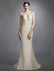 cheap -Mermaid / Trumpet Plunging Neck Sweep / Brush Train Lace Made-To-Measure Wedding Dresses with Appliques by LAN TING BRIDE® / See-Through