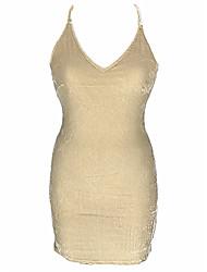baratos -Mulheres Chemise & Camisola Roupa de Noite - Frente Única / Vazado, Sólido