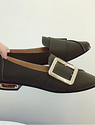 お買い得  -女性用 靴 PUレザー 夏 コンフォートシューズ ローファー&スリップアドオン フラットヒール スクエアトゥ ベックル のために アウトドア ブラック / ベージュ / アーミーグリーン