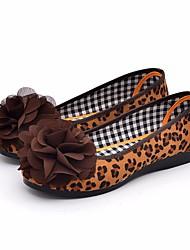 baratos -Mulheres Sapatos Pele Nobuck Primavera Outono Bailarina Conforto Rasos Sem Salto para Casual Preto Leopardo