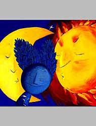 abordables -Peinture à l'huile Hang-peint Peint à la main - Abstrait / Bande dessinée Contemporain Toile