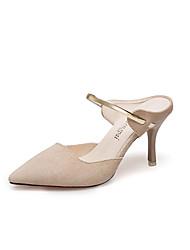 Недорогие -Жен. Обувь Нубук Лето Удобная обувь Башмаки и босоножки На шпильке Заостренный носок Черный / Бежевый / Желтый