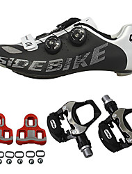 cheap -SIDEBIKE Cycling Shoes With Pedals & Cleats / Road Bike Shoes Carbon Fiber Anti-Slip, Wearable Cycling Red and White / Black+Sliver Men's