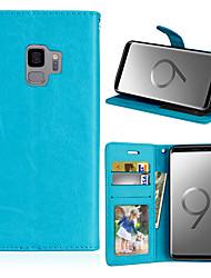 baratos -Capinha Para Samsung Galaxy S9 Plus / S9 Carteira / Porta-Cartão / Com Suporte Capa Proteção Completa Sólido Rígida PU Leather para S9 / S9 Plus