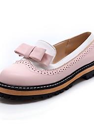 povoljno -Žene Cipele PU Proljeće ljeto Udobne cipele Ravne cipele Hodanje Ravna potpetica Okrugli Toe Mašnica za Vanjski Crn / Plava / Pink