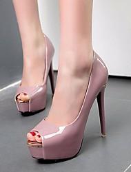 baratos -Mulheres Sapatos Couro Ecológico Primavera Plataforma Básica Saltos Salto Agulha Peep Toe Branco / Preto / Roxo