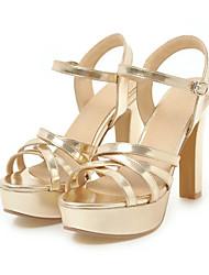 baratos -Mulheres Sapatos Couro Ecológico Verão Plataforma Básica Sandálias Salto Robusto Dedo Aberto Presilha para Escritório e Carreira / Festas