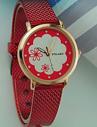 Недорогие -Жен. Наручные часы Повседневные часы Plastic Группа Цветы / Мода Черный / Белый / Красный