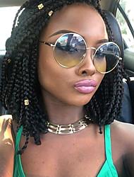 abordables -Perruque Lace Front Synthétique Bouclé Partie latérale Coupe Carré 100% cheveux kanekalon Partie intermédiaire cousue Noir Femme Dentelle