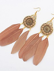 cheap -Synthetic Tanzanite Drop Earrings - Feather Vintage, Fashion, Oversized Green / Wine / Light Coffee For Wedding Street