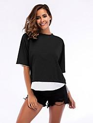 preiswerte -Damen Einfarbig - Grundlegend T-shirt Patchwork Schwarz & Weiß