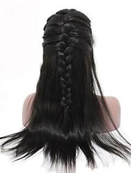 baratos -Não processado Cabelo Humano Peruca Cabelo Malaio Liso Parte lateral 250% Densidade Com Baby Hair Com nós descorados Não processado Para