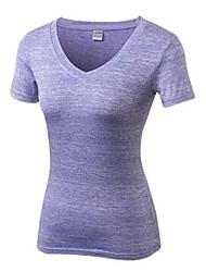 お買い得  -女性用 ランニングTシャツ 半袖 ライトウェイト, 速乾性, 伸縮性 Tシャツ のために ピラティス / カジュアル / エクササイズ&フィットネス ポリエステル, スパンデックス パープル / グリーン / グレー L / XL / XXL