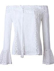 Недорогие -Жен. Кружевная отделка Блуза Классический / Уличный стиль Однотонный
