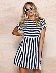 cheap -Women's Daily / Going out Shift Dress - Striped / Summer