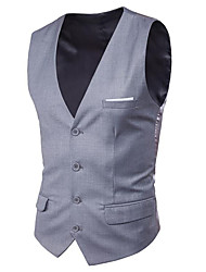 cheap -Men's Business / Basic Vest - Solid Colored, Patchwork