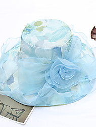cheap -Women's Party / Holiday Bucket Hat / Floppy Hat - Solid Colored Beaded / Ruffle / Mesh